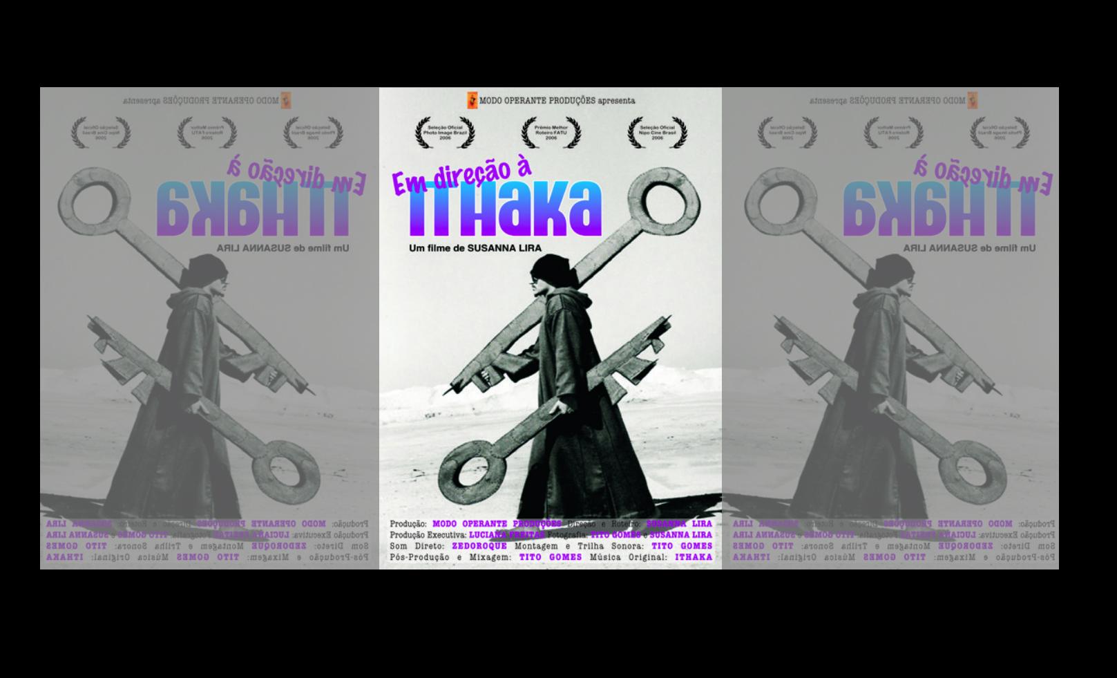 ´´Em direção à Ithaka´´ é um documentário sobre o multiartista californiano, Ithaka Darin Pappas (rapper, escultor, surfista e fotógrafo). O filme fala sobre o encontro do seu processo criativo com a cidade do Rio de Janeiro.